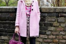 With plaid shirt, pastel color skirt and light yellow scarf