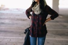 With plaid shirt, printed scarf and jeans