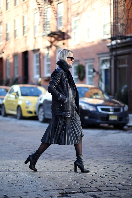 With pleated midi skirt and mid calf boots