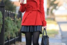 With pleated mini skirt, checked scarf, black tights and ankle boots