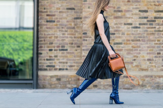 With pleated skirt and mini bag
