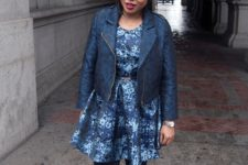 With printed dress, black tights and leather jacket