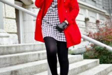 With printed mini dress, black tights and wide brim hat