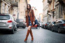 With printed mini dress, long blazer and black bag