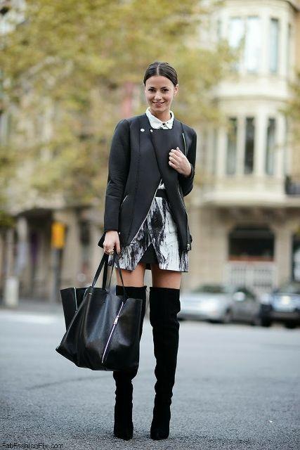 With printed skirt, black jacket and big bag