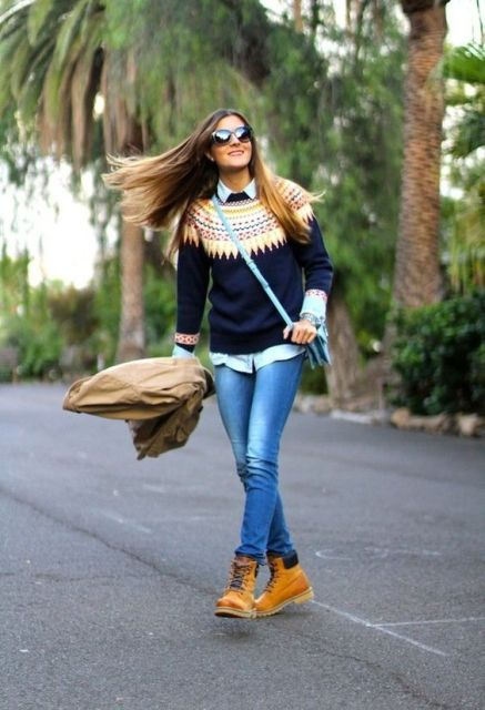 With printed sweater, classic shirt and jeans