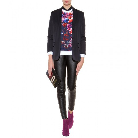 With printed sweatshirt, black jacket and leather pants