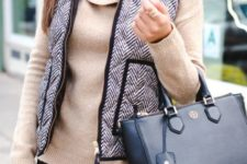 With printed vest, black trousers and black bag