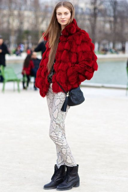 With red fur short coat, mid calf boots and crossbody bag
