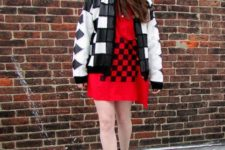 With red printed mini dress and geometric print jacket