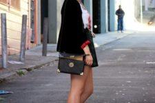 With skater skirt, black blazer and crossbody bag