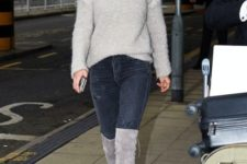 With skinny jeans and light gray over the knee boots