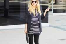 With striped dress, black tights and navy blue long blazer