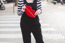 With striped shirt and flats