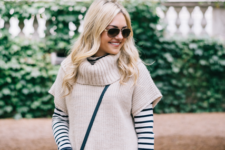 With striped shirt, jeans and crossbody bag
