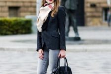 With suede jacket, oversized scarf and jeans