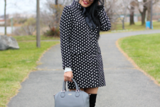 With suede over the knee boots and gray bag