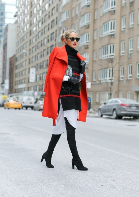 With suede over the knee boots oversized sweater and white dress