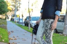 With sweater, ankle boots and chain strap bag
