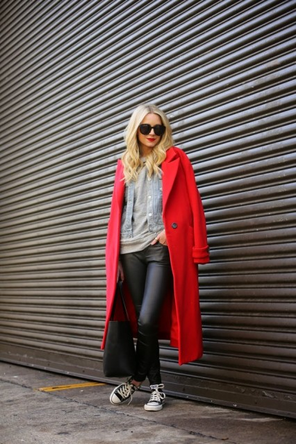 With sweatshirt, denim jacket, leather pants and sneakers