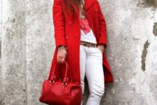 With t-shirt, white pants, mid calf boots and white beanie