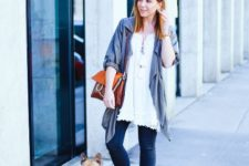 With white long blouse, jeans and cardigan