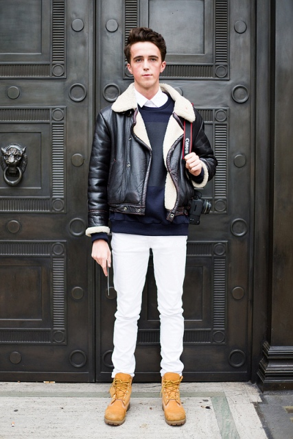 With white pants, shearling jacket and sweater