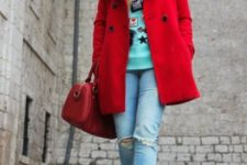double breasted red coat