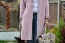 With white shirt, cuffed jeans, neutral color loafers