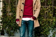 With white shirt, red sweater, camel coat and jeans