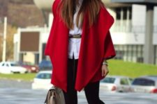 With white shirt with belt, mini skirt, flat ankle boots and neutral bag