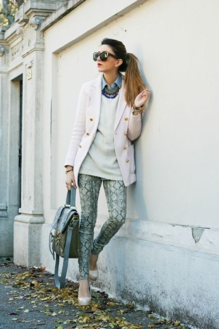 With white sweater, pastel color blazer and bag