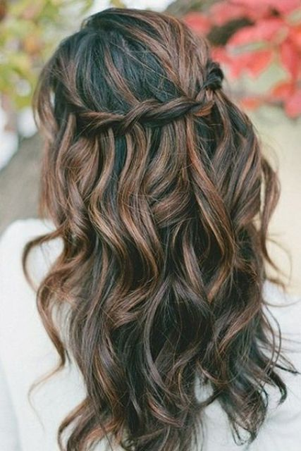 black hair with caramel and brown highlights
