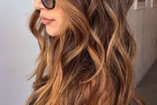 brunette hair with sun-kissed highlights