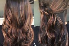 dark brown and caramel balayage highlights