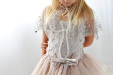 02 a blush tutu skirt, a silver top and capelet to feel an ice queen