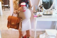 02 a neutral dress, a blanket scarf and red rain boots