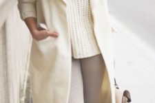 02 a white sweater, coat and beanie, pastel boots and a bag