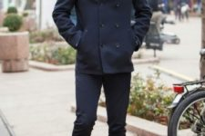 02 navy pants, a navy coat, brown shoes