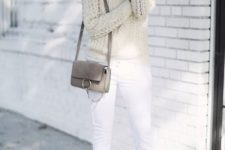 03 a cable knit ivory sweater, white jeans and heels