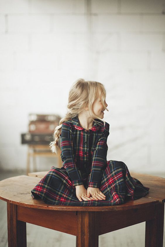 a classic tartan dress in dark shades