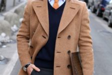 03 a smart casual look wwith a peach coat and tie, a navy sweater and black pants