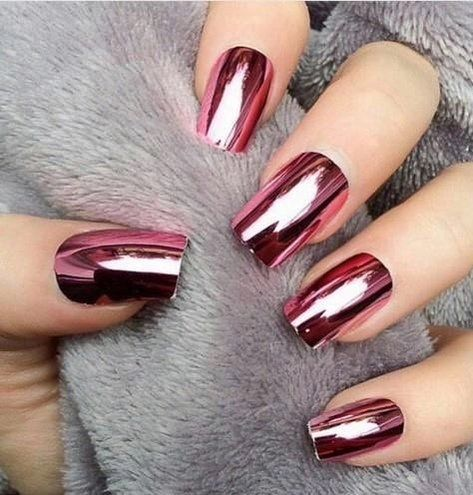 bold rose chrome nails for a bold look