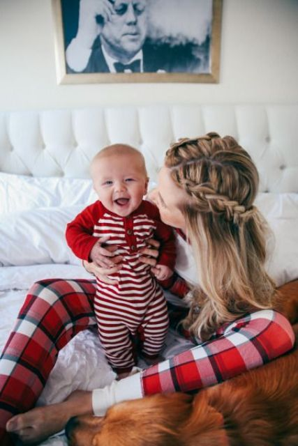 red striped pyjamas is comfy and warm enough for a little boy