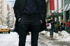 04 a black look with a white shirt and brown boots for a statement