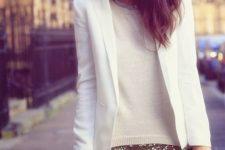 04 a gold mini, a white sweater and a white blazer