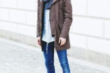 04 cuffed jeans, a brown parka, grey chucks and a grey scarf
