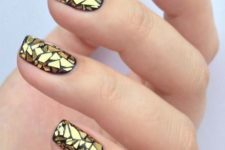 04 gold glass nail art