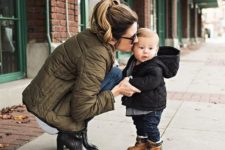 04 jeans, a quilted coat and ocher boots