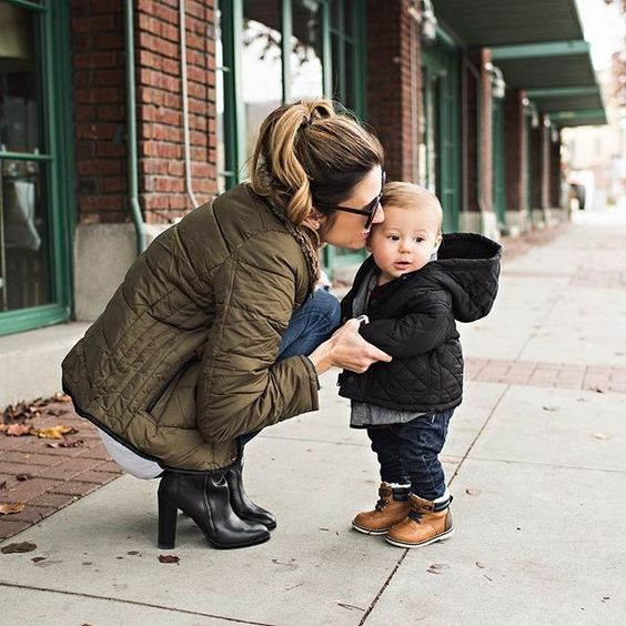 jeans, a quilted coat and ocher boots